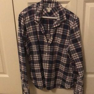 J. Crew plaid flannel shirt. blue white pink check for sale